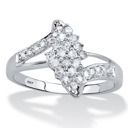 Round Diamond Bypass Cluster Ring 1/3 TCW in Solid 10k White Gold at PalmBeach Jewelry