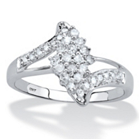 Round Diamond Bypass Cluster Ring 1/3 TCW In Solid 10k White Gold