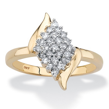 Round Diamond Marquise Shape Cluster Ring 1/3 TCW in Solid 10k Yellow Gold at PalmBeach Jewelry