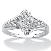 Round Diamond Cluster Bypass Ring 1/3 TCW In Solid 10k White Gold ONLY $314.99
