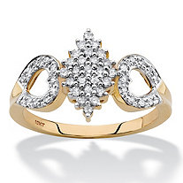 Round Diamond Cluster Open Heart Ring 1/3 TCW in Solid 10k Yellow Gold