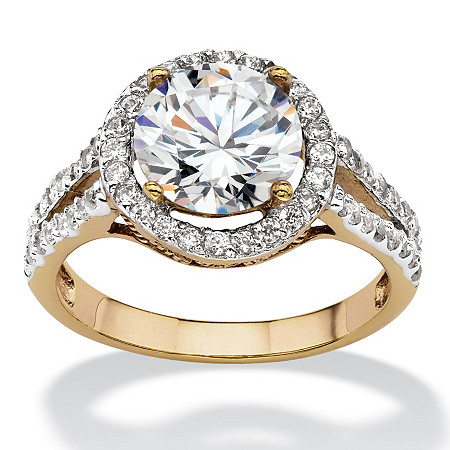 Round Cubic Zirconia Halo Engagement Ring 3 TCW 18k Yellow Gold-Plated at PalmBeach Jewelry