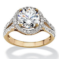 Round Cubic Zirconia Halo Engagement Ring 3 TCW 18k Yellow Gold-Plated