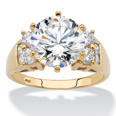 Round Cubic Zirconia Engagement Anniversary Ring 4.66 TCW in 14k Yellow Gold over Silver at PalmBeach Jewelry