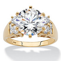 Round Cubic Zirconia Engagement Anniversary Ring 4.66 TCW in 14k Yellow Gold over Silver