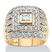Men's Square-Cut Cubic Zirconia Multi-Row Ring 2.89 TCW in 14k Yellow Gold over Sterling Silver