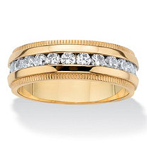 Men's Round Cubic Zirconia Eternity Wedding Ring 1.12 TCW in Gold Ion-Plated Stainless Steel