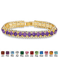 Round Birthstone and Crystal Tennis Bracelet in Gold Tone 7""