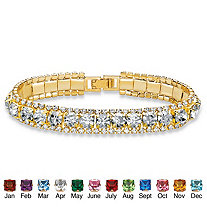 Round Simulated Birthstone and Crystal Tennis Bracelet in Gold Tone 7""