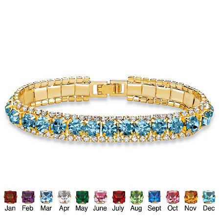 "Round Simulated Birthstone and Crystal Tennis Bracelet in Gold Tone 7"" at PalmBeach Jewelry"
