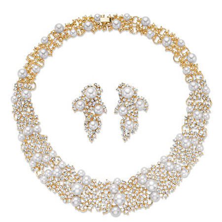 "Simulated Pearl and Crystal 2-Piece Cluster Earring and Collar Necklace Set in Gold Tone 16"" at PalmBeach Jewelry"
