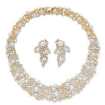 Simulated Pearl and Crystal 2-Piece Cluster Earring and Collar Necklace Set in Gold Tone 16""