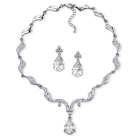 "Peardrop Cubic Zirconia and Crystal Accent Scalloped Earrings and Collar Necklace Set 30 TCW in Silvertone 16""-18"" at PalmBeach Jewelry"