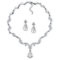 "Peardrop Cubic Zirconia and Crystal Accent Scalloped Earrings and Collar Necklace Set 30 TCW in Silvertone 16""-18"""
