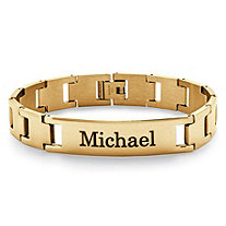 SETA JEWELRY Men's Personalized ID Bracelet in Yellow Gold Ion-Plated Stainless Steel 8 1/2
