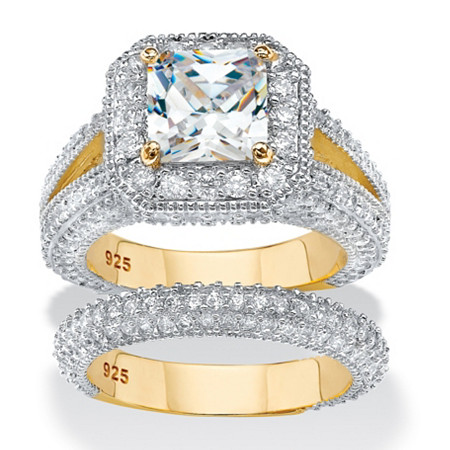 Princess-Cut Cubic Zirconia 2-Piece Halo Bridal Ring Set 5.08 TCW in 14k Yellow Gold Over Sterling Silver at PalmBeach Jewelry