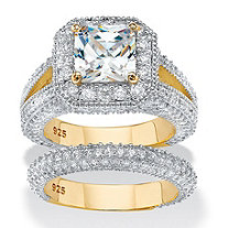 SETA JEWELRY Princess-Cut Cubic Zirconia 2-Piece Halo Bridal Ring Set 5.08 TCW in 14k Yellow Gold Over Sterling Silver