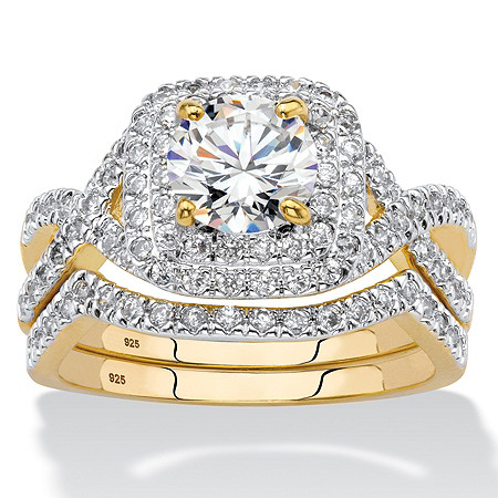 Round Cubic Zirconia 2-Piece Crossover Halo Bridal Ring Set 2.20 TCW in 14k Yellow Gold over Sterling Silver at PalmBeach Jewelry