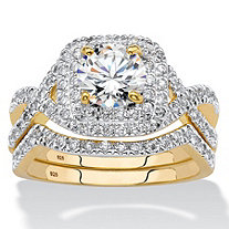 Round Cubic Zirconia 2-Piece Crossover Halo Bridal Ring Set 2.20 TCW in 14k Yellow Gold over Sterling Silver