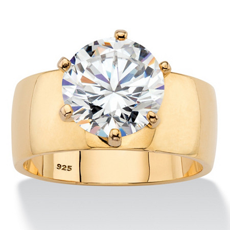 Round Cubic Zirconia Solitaire Engagement Ring 4.0 TCW in 14k Yellow Gold over Sterling Silver at PalmBeach Jewelry