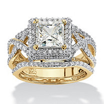 Princess-Cut Cubic Zirconia 3-Pc. Crossover Halo Bridal Ring Set 2.82 TCW in 14k Yellow Gold over Sterling Silver