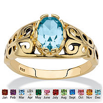 Oval-Cut Simulated Birthstone Filigree Ring in 14k Gold over Sterling Silver