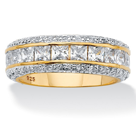 Princess-Cut Cubic Zirconia Eternity Band 4.17 TCW in 14k Yellow Gold over Sterling Silver at PalmBeach Jewelry