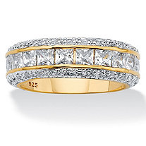Princess-Cut Cubic Zirconia Eternity Band 4.17 TCW in 14k Yellow Gold over Sterling Silver