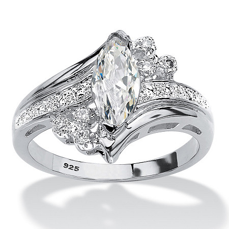 Marquise-Cut Cubic Zirconia Bypass Engagement Ring 1.03 TCW in Sterling Silver at PalmBeach Jewelry