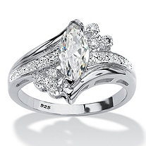 Marquise-Cut Cubic Zirconia Bypass Engagement Ring 1.03 TCW in Sterling Silver