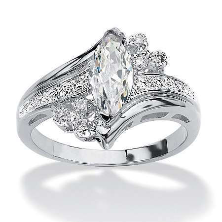 Marquise-Cut Cubic Zirconia Engagement Anniversary Ring 1.03 TCW in Silvertone at PalmBeach Jewelry