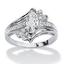 Marquise-Cut Cubic Zirconia Engagement Anniversary Ring 1.03 TCW in Silvertone