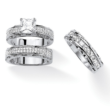 Princess-Cut Cubic Zirconia 2-Piece Wedding Ring Set with BONUS Anniversary Band 3.10 TCW in Silvertone at PalmBeach Jewelry