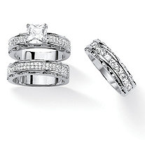 Princess-Cut Cubic Zirconia 2-Piece Wedding Ring Set with BONUS Anniversary Band 3.10 TCW in Silvertone