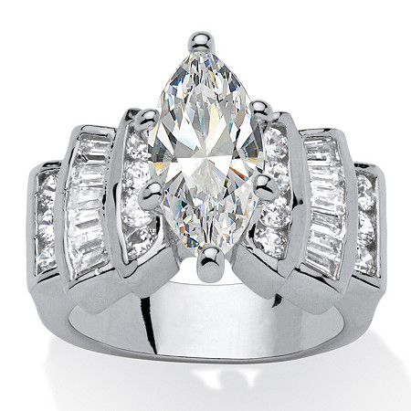 Marquise-Cut and Baguette Cubic Zirconia Step-Top Engagement Ring 3.63 TCW in Silvertone at PalmBeach Jewelry