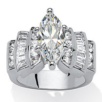 Marquise-Cut and Baguette Cubic Zirconia Step-Top Engagement Ring 3.63 TCW in Silvertone