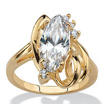 Marquise-Cut and Round Crystal Cocktail Ring 14k Gold-Plated