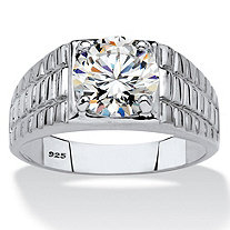 Men's Round Cubic Zirconia Watchband-Style Ring 2 TCW in Platinum over Sterling Silver