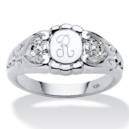 Personalized Initial Scrolling Hearts Signet Ring in Platinum over Sterling Silver at PalmBeach Jewelry