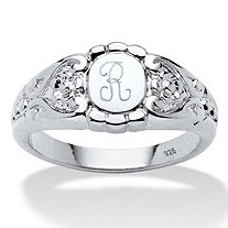 Personalized Initial Scrolling Hearts Signet Ring in Platinum over Sterling Silver