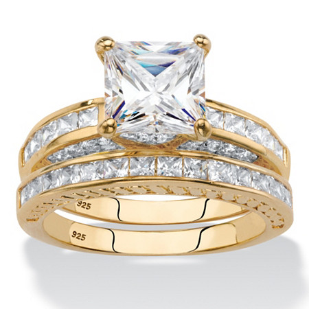 Princess-Cut Cubic Zirconia Two-Piece Bridal Set 3.38 TCW in 14k Gold Over Sterling Silver at PalmBeach Jewelry