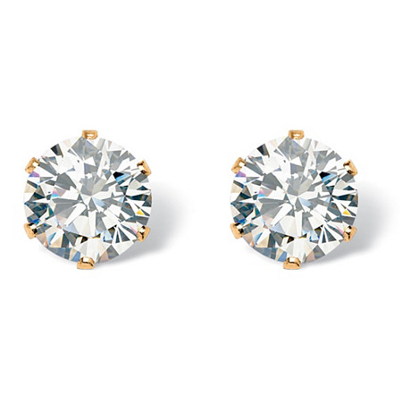 Round Cubic Zirconia Stud Earrings 1.96 TCW in Gold Tone at PalmBeach Jewelry