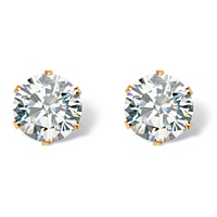 Round Cubic Zirconia Stud Earrings 1.96 TCW in Gold Tone