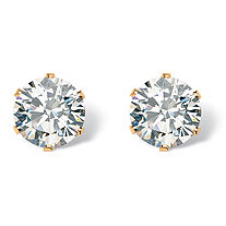 SETA JEWELRY Round Cubic Zirconia Stud Earrings 1.96 TCW in Gold Tone