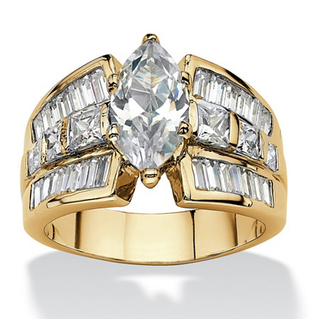 Marquise-Cut Cubic Zirconia Engagement Ring 7.87 TCW 18k Gold-Plated at PalmBeach Jewelry