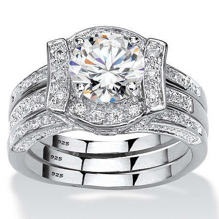 2.37 TCW Round Cubic Zirconia Channel-Set 2-Piece Jacket Bridal Set in Platinum over Sterling Silver at Direct Charge presents PalmBeach