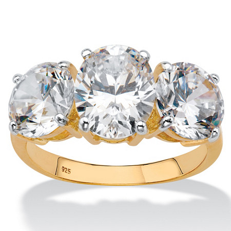 Oval-Cut Cubic Zirconia 3-Stone Bridal Engagement Ring 6.54 TCW in 18k Gold over Sterling Silver at PalmBeach Jewelry