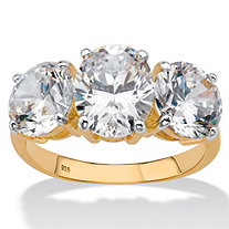 Oval-Cut Cubic Zirconia 3-Stone Bridal Engagement Ring 6.54 TCW in 18k Gold over Sterling Silver