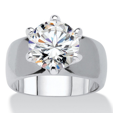 Round Cubic Zirconia Solitaire Engagement Anniversary Ring 4 TCW in Silvertone at PalmBeach Jewelry