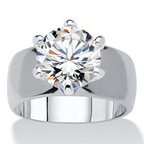 Round Cubic Zirconia Solitaire Engagement Anniversary Ring 4 TCW in Silvertone